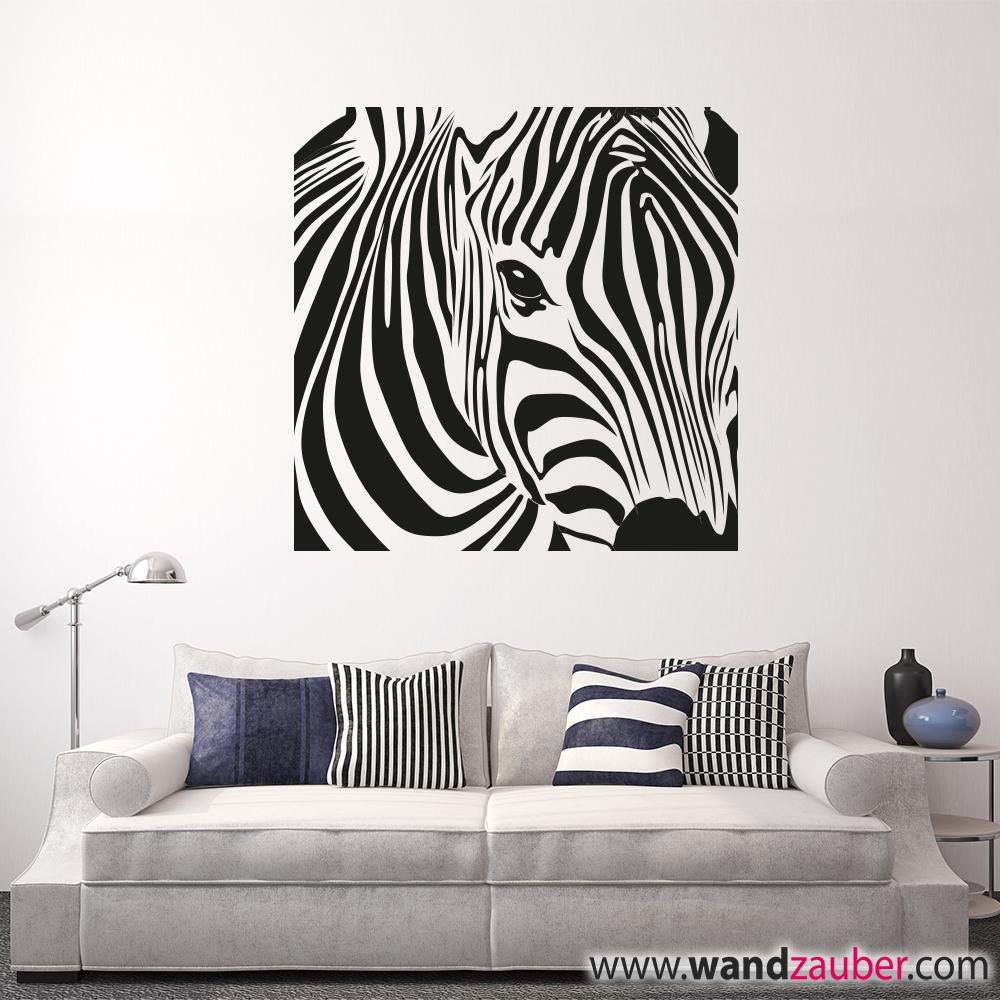 zebra kopf wandtattoo wandzauber wandtattoos. Black Bedroom Furniture Sets. Home Design Ideas