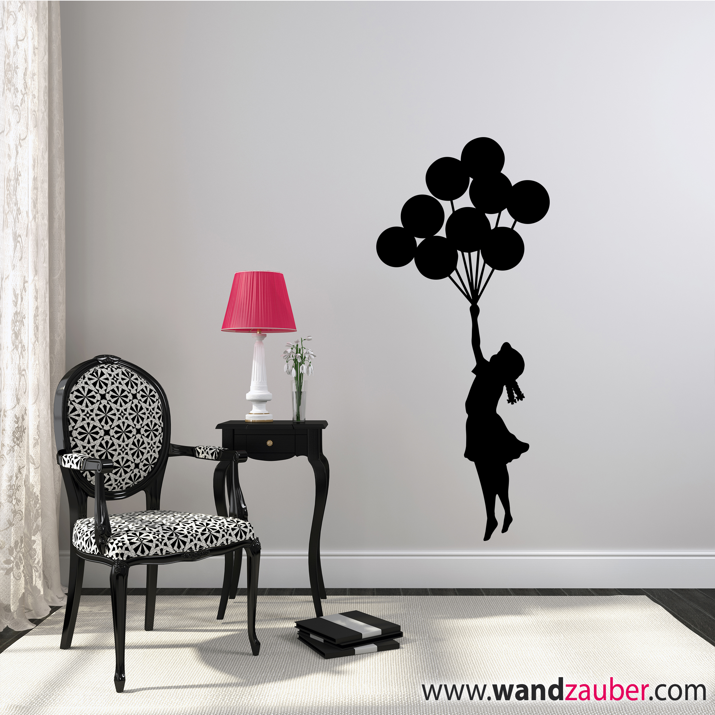 wandtattoo m dchen mit luftballon reuniecollegenoetsele. Black Bedroom Furniture Sets. Home Design Ideas